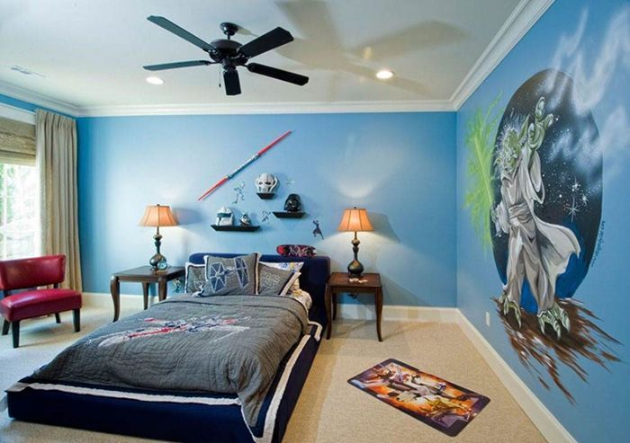Thiet ke noi that BelDecor vn bedroom large ceiling fans without lights for kids area with blue wall painting cartoon cartoon for kids room decoration kids room the kids from room 402 accessories cool rooms awesome to go curtains